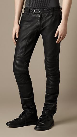 Skinny Leather Biker Trousers