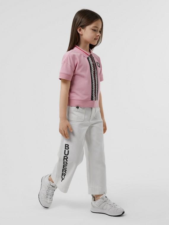 Monogram Stripe Print Cotton Piqué Polo Shirt in Candy Pink