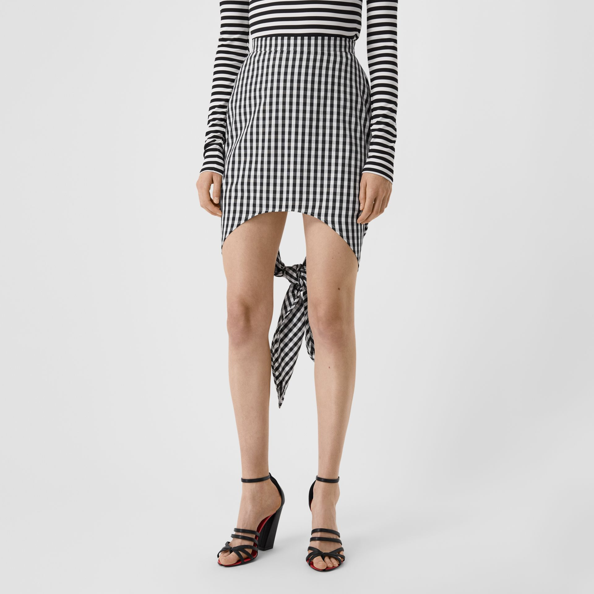 Scarf-tie Detail Gingham Technical Wool Mini Skirt in Black - Women | Burberry - gallery image 4