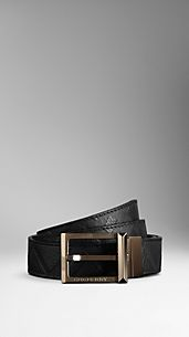 Check Embossed Reversible Leather Belt