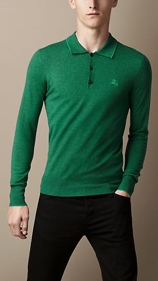 Long Sleeve Merino Wool Polo Shirt