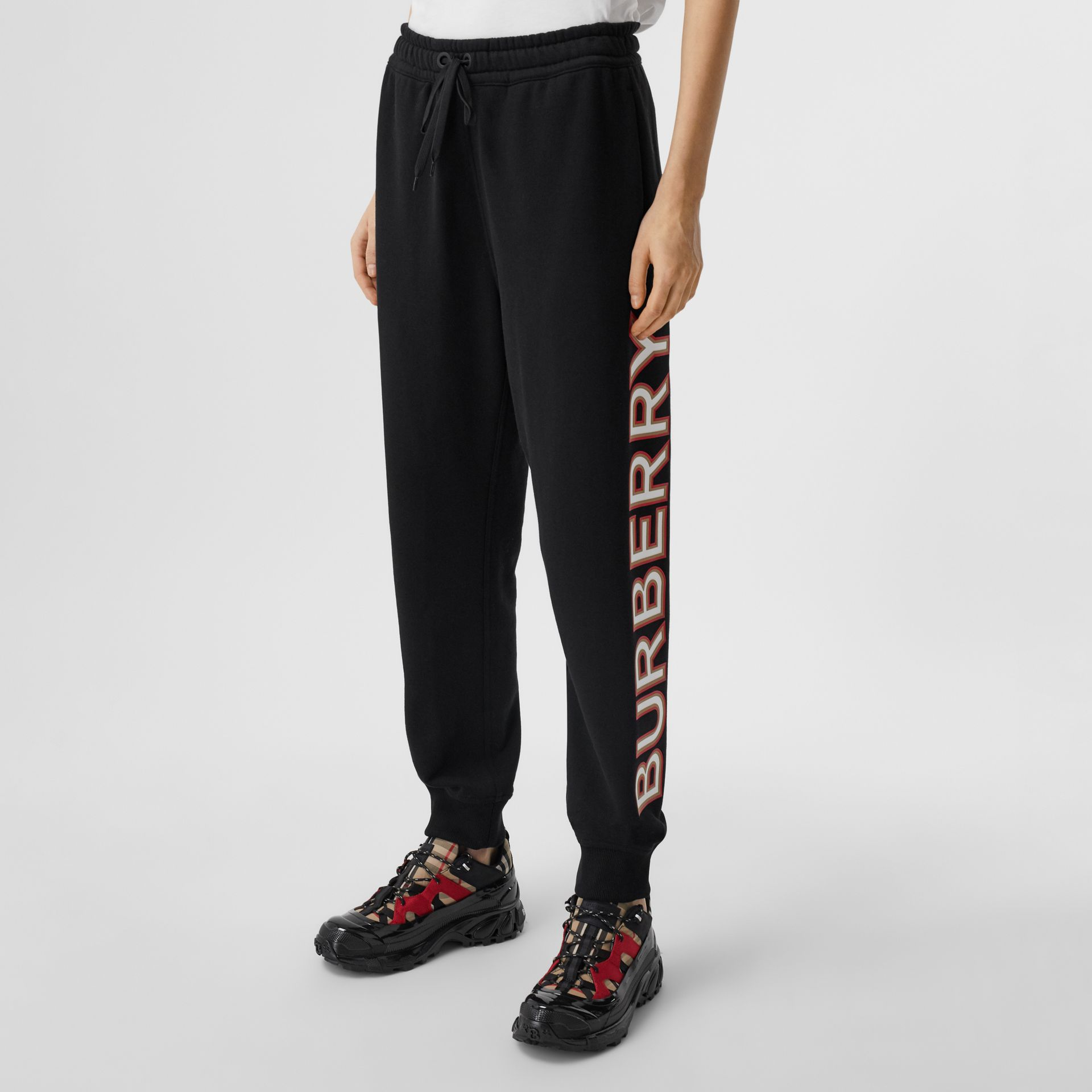 Logo Print Cotton Jogging Pants in Black - Women | Burberry - gallery image 4