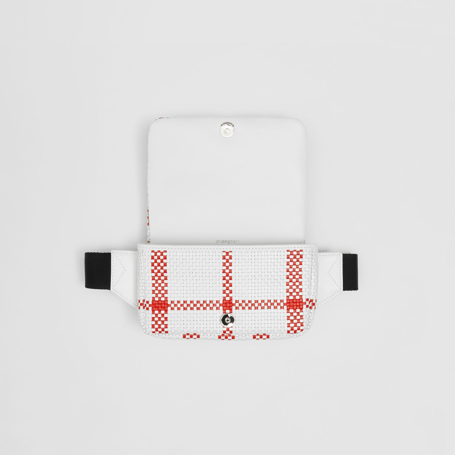 Latticed Leather Lola Bum Bag in White/red - Women | Burberry Canada - gallery image 4