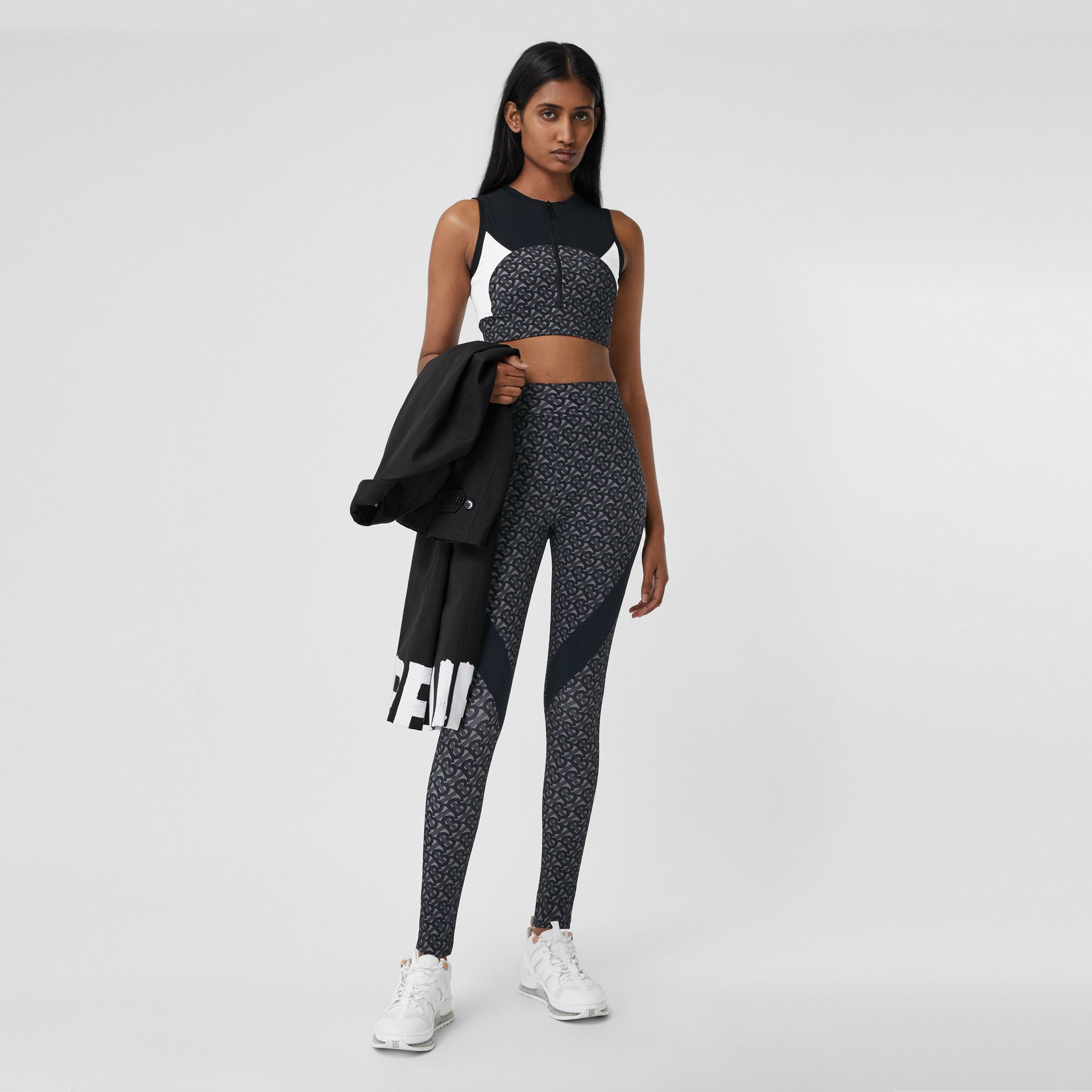 Colour Block Monogram Print Cropped Top in Graphite - Women | Burberry - gallery image 0