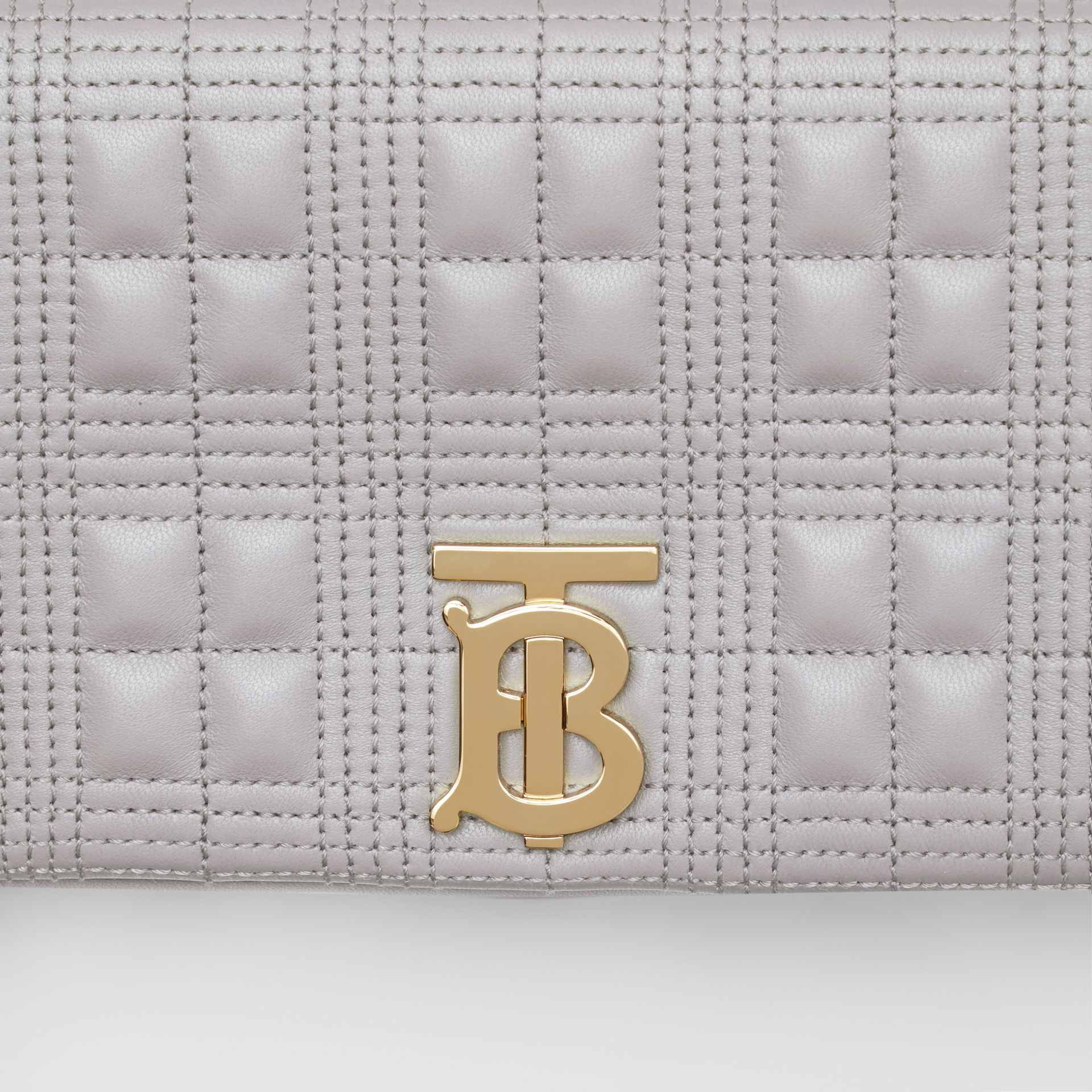 Small Quilted Lambskin Lola Bag in Cloud Grey | Burberry - gallery image 11