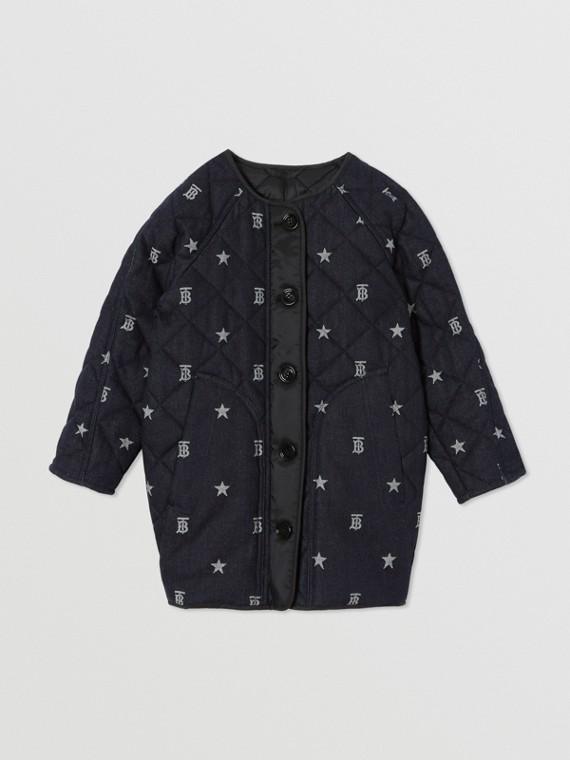 Manteau en denim matelassé à motifs étoilés et Monogram (Indigo)