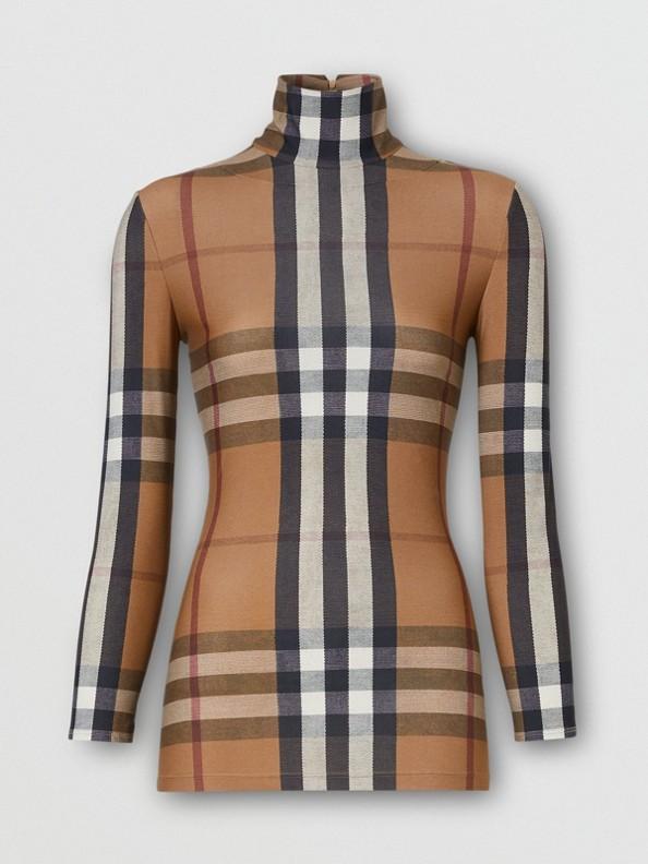 Camiseta de cuello alto en tejido jersey elástico a cuadros (Rosa Beige Suave)