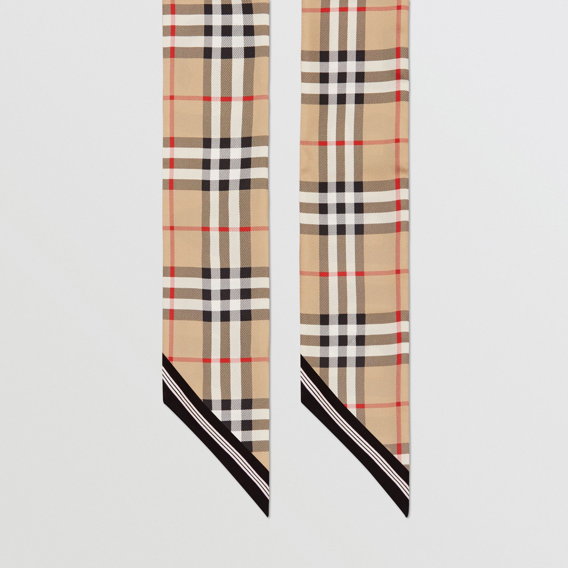 Vintage Check and Logo Print Silk Skinny Scarf in Archive Beige | Burberry - gallery image 3