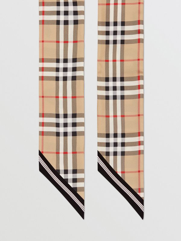 Vintage Check and Logo Print Silk Skinny Scarf in Archive Beige | Burberry - cell image 3