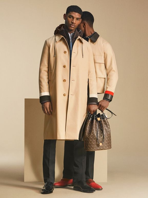 Stripe Detail Cotton Gabardine Car Coat in Soft Fawn - Men | Burberry - cell image 1