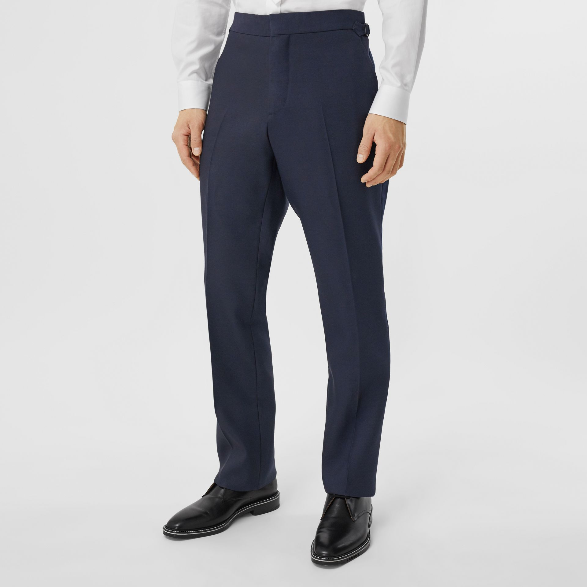 Classic Fit Wool Silk Blend Tailored Trousers in Navy - Men | Burberry - gallery image 4
