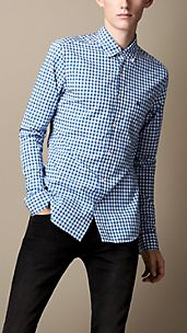 Gingham-Hemd mit Button-down-Kragen