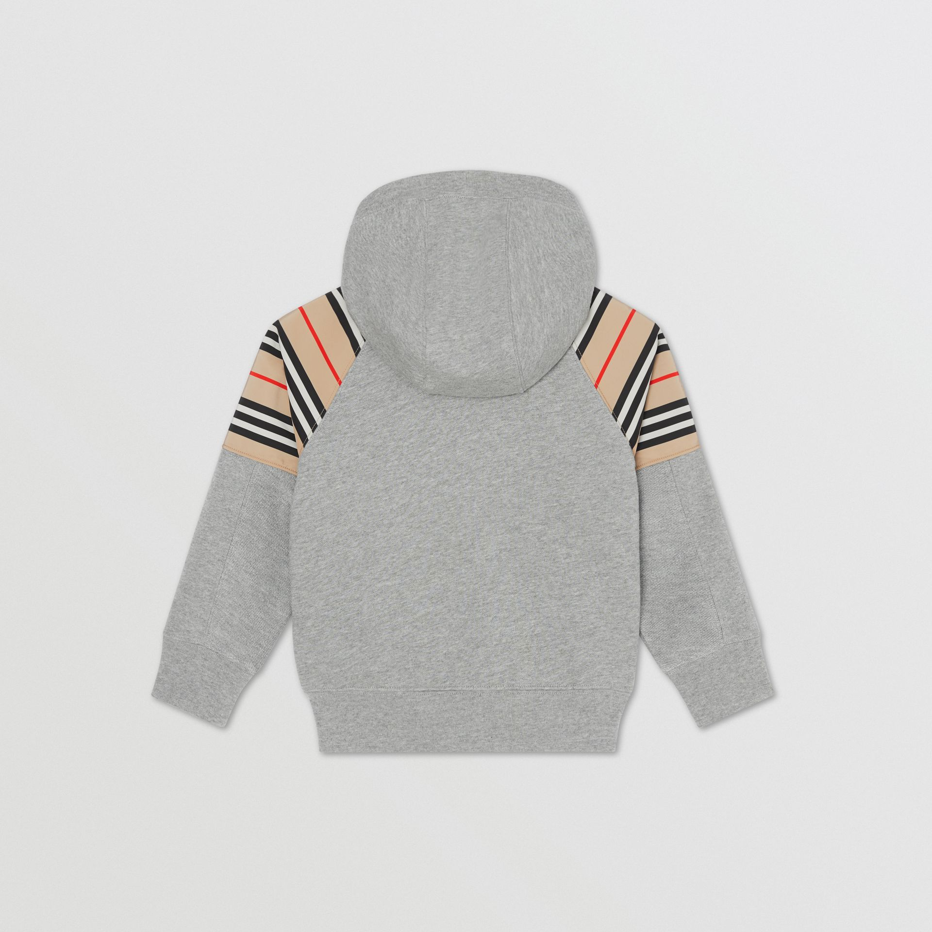 Icon Stripe Panel Cotton Hooded Top in Grey Melange | Burberry United Kingdom - gallery image 2