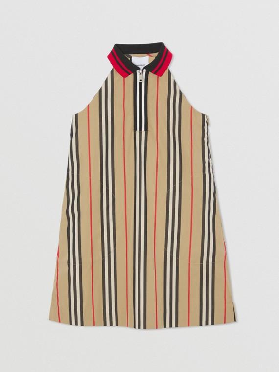 Icon Stripe Cotton Poplin Zip-front Dress in Archive Beige
