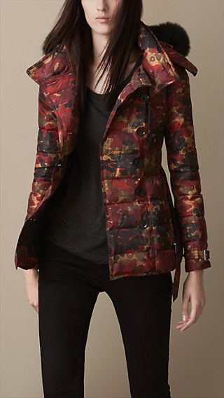 Abstract Camouflage Print Puffer Jacket With Fur Trim