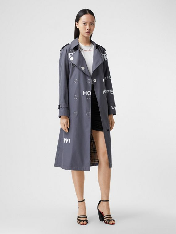 Horseferry Print Cotton Gabardine Trench Coat in Mid Grey