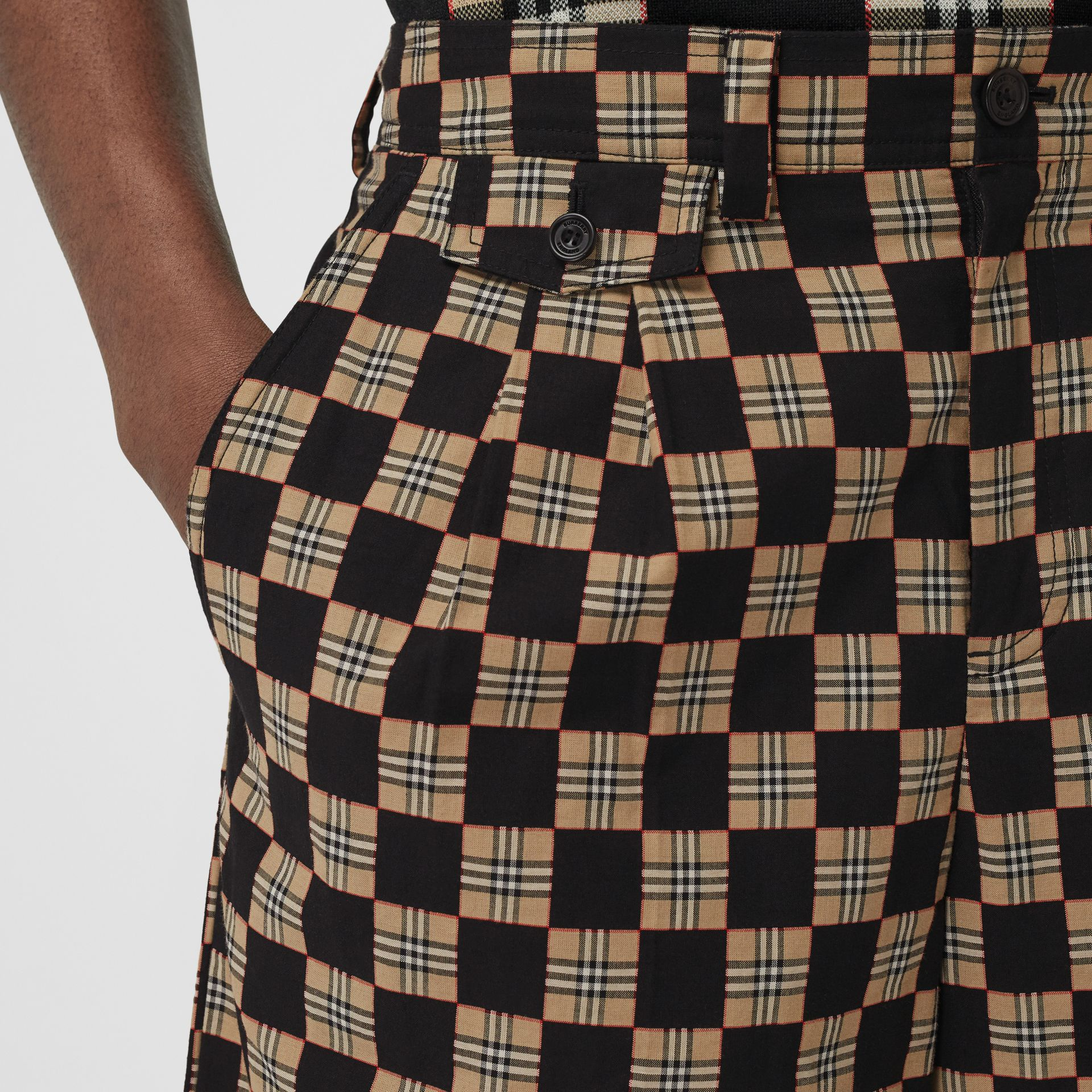 Chequer Cotton Jacquard Tailored Shorts in Archive Beige | Burberry - gallery image 1