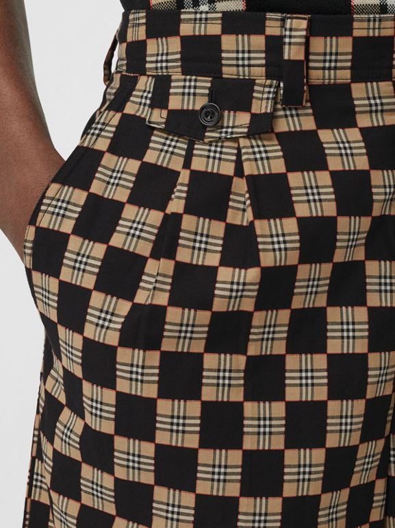 Chequer Cotton Jacquard Tailored Shorts in Archive Beige | Burberry - cell image 1