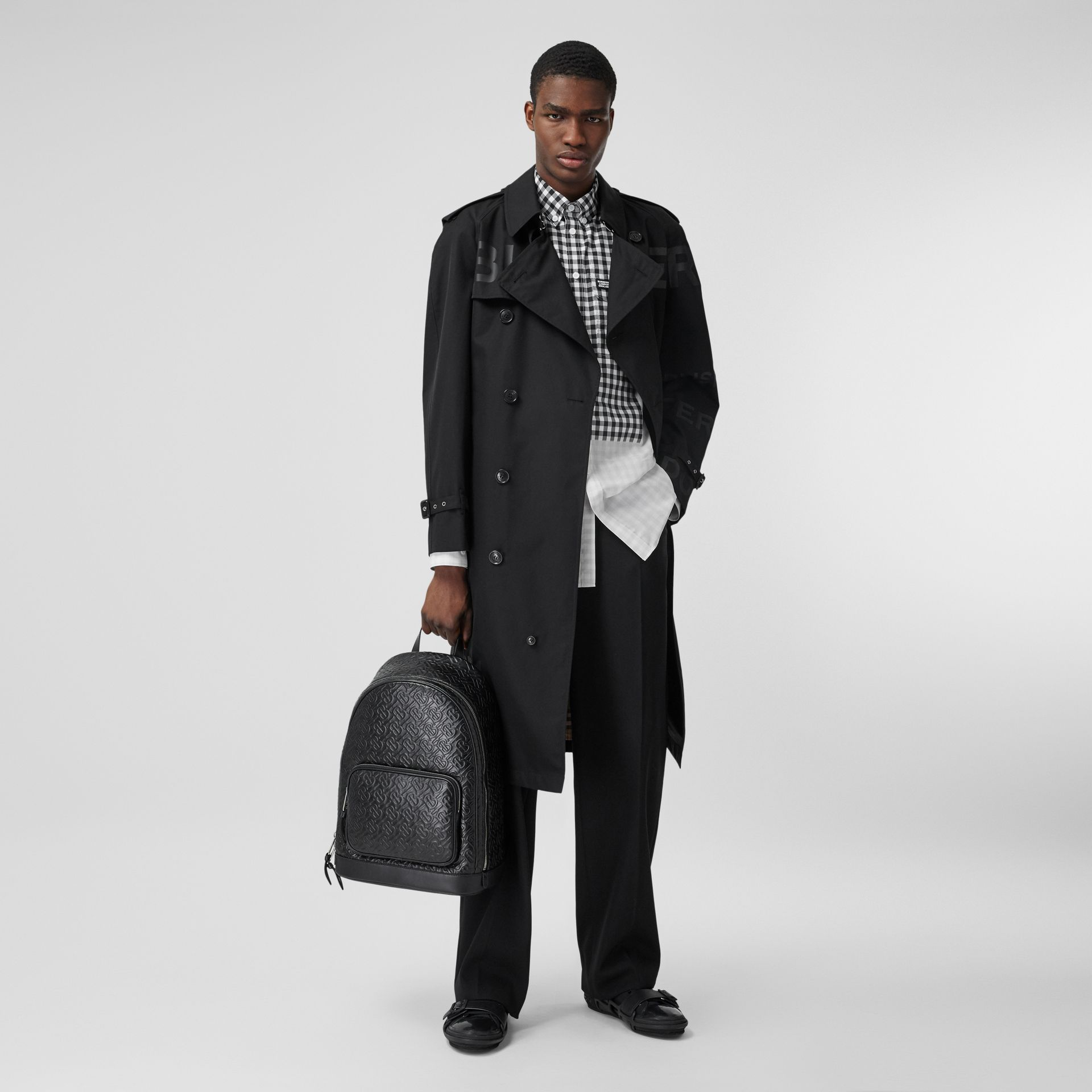 Horseferry Print Cotton Gabardine Trench Coat in Black - Men | Burberry - gallery image 0