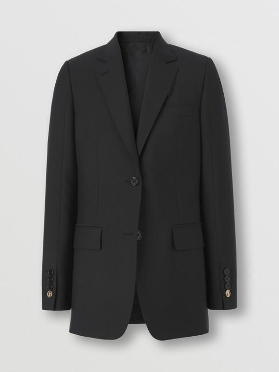 Monogram Motif Mohair Wool Tailored Jacket in Black