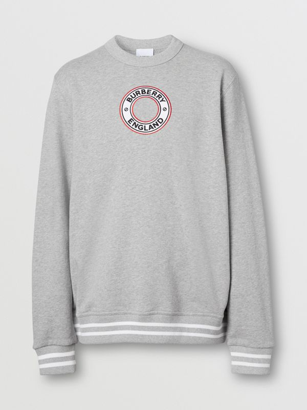 Logo Graphic Appliqué Cotton Sweatshirt in Pale Grey Melange - Men | Burberry - cell image 3