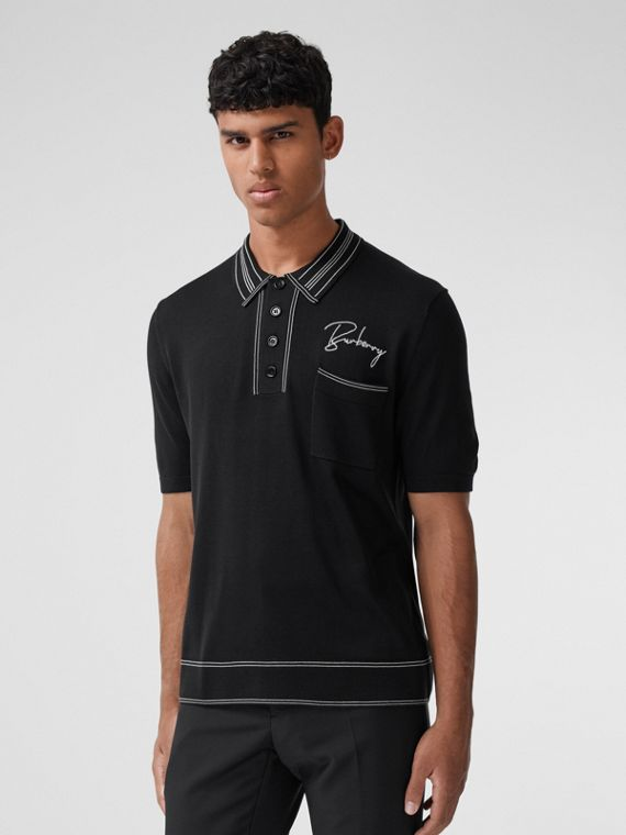 Embroidered Logo Knit Silk Polo Shirt