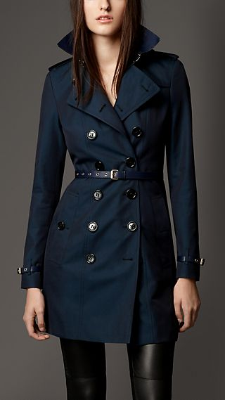 Cotton Gabardine Leather Detail Trench Coat