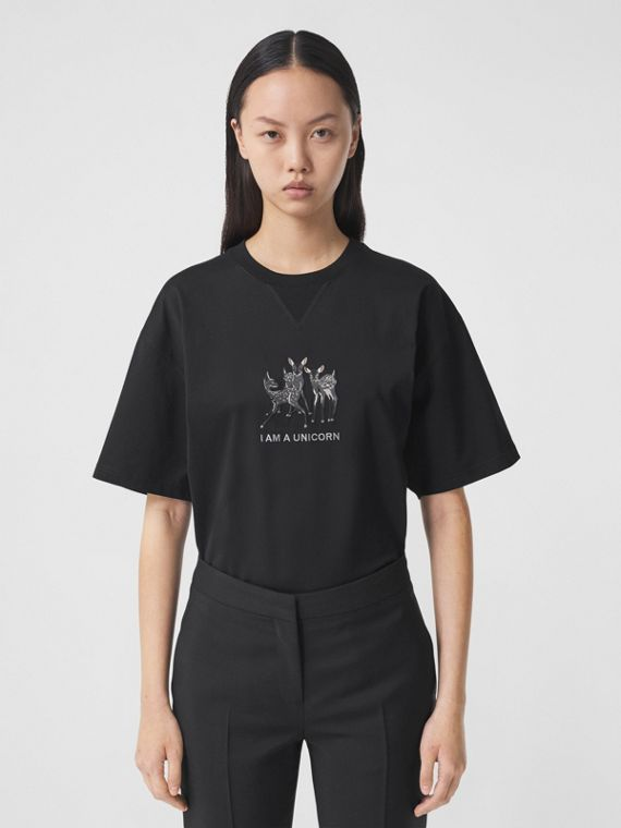Embroidered Deer Cotton Oversized T-shirt in Black