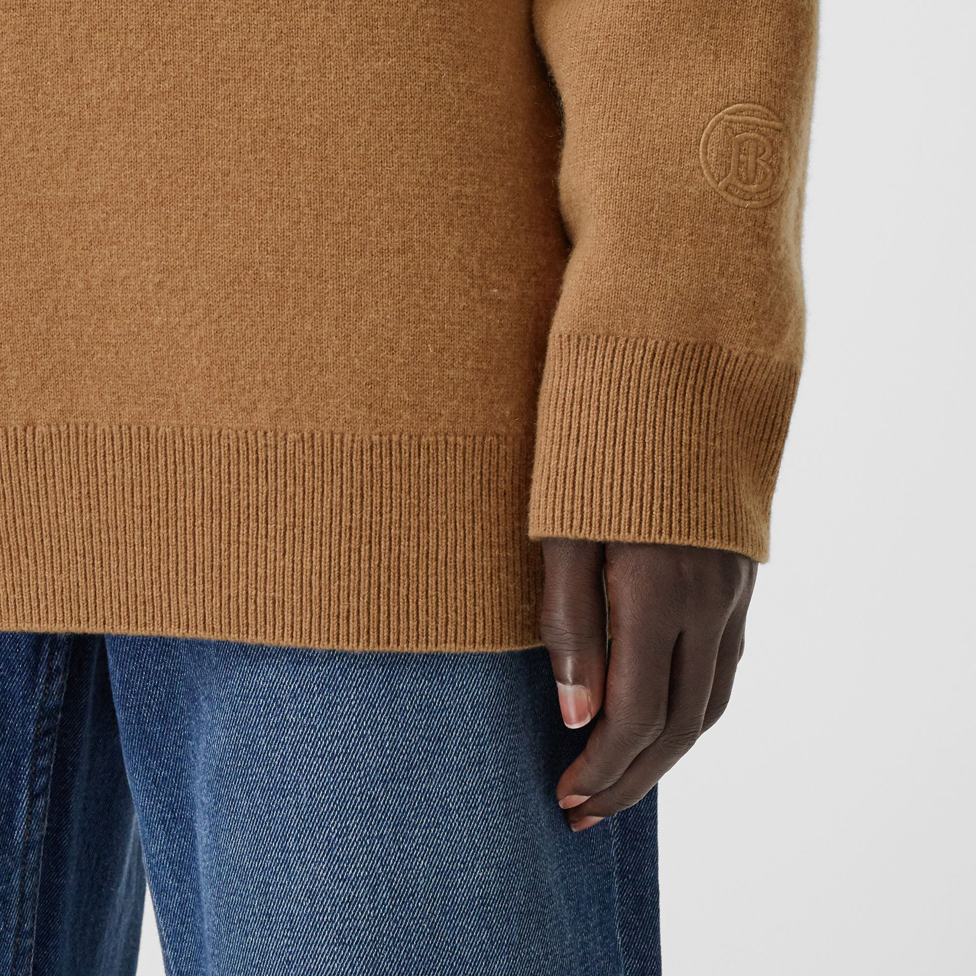 Monogram Motif Cashmere Blend Funnel Neck Sweater in Camel - Women | Burberry - gallery image 4