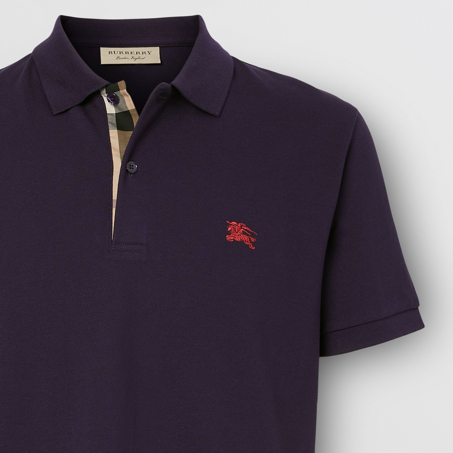 Check Placket Cotton Piqué Polo Shirt in Regency Purple - Men | Burberry Hong Kong S.A.R. - gallery image 1
