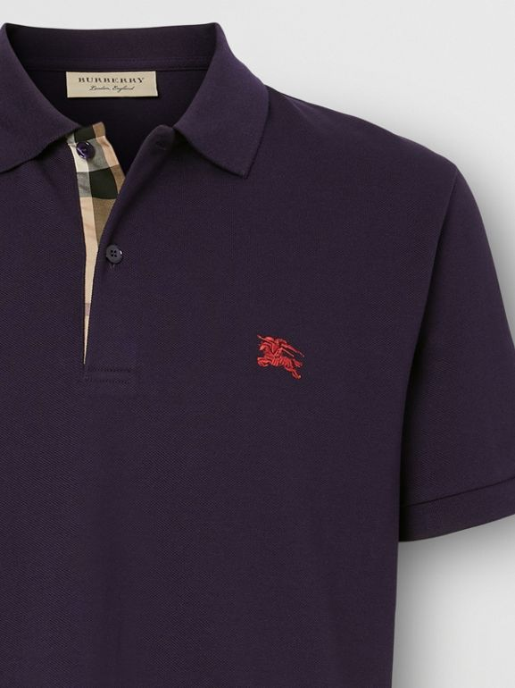 Check Placket Cotton Piqué Polo Shirt in Regency Purple - Men | Burberry Hong Kong S.A.R. - cell image 1