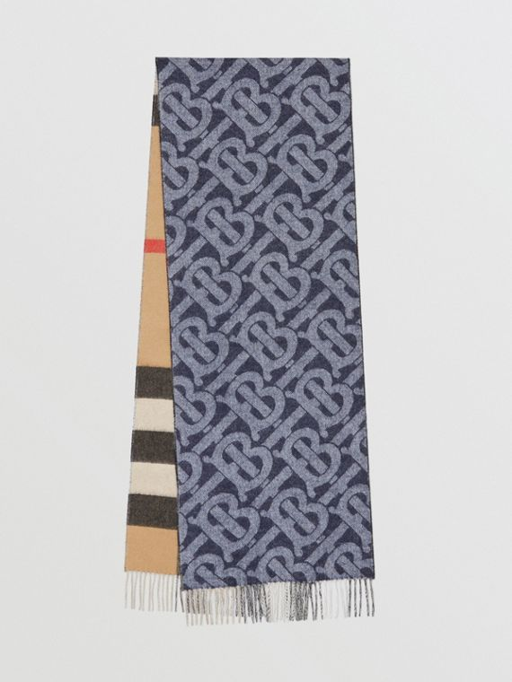 Reversible Check and Monogram Cashmere Scarf in Indigo