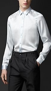 Classic Fit Silk Satin Shirt