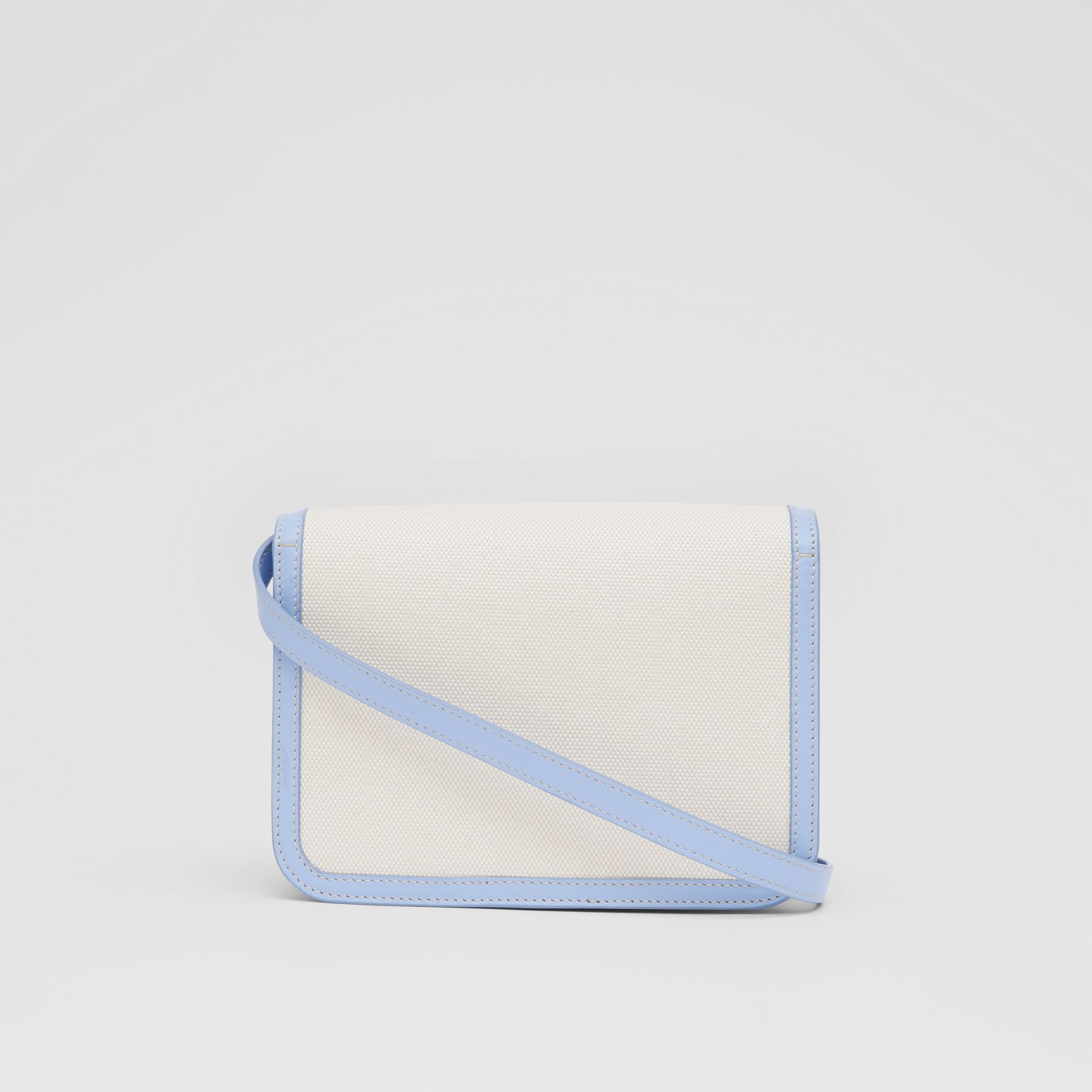 Small Two-tone Canvas and Leather TB Bag in Natural/pale Blue | Burberry United States - gallery image 7
