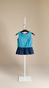 Colour Block Cotton Peplum Top