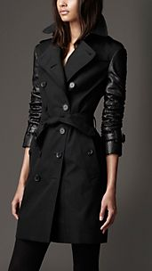 Long Cotton Gabardine Python Sleeve Trench Coat