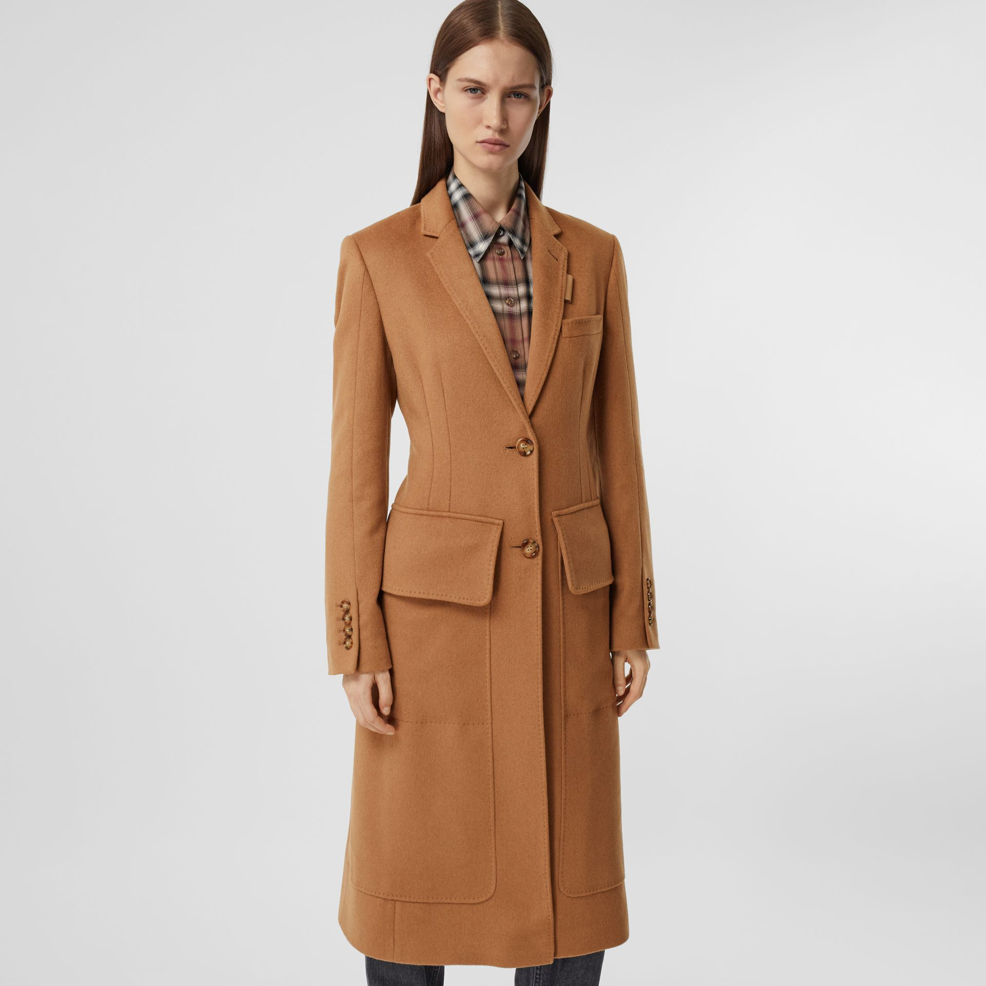 Cashmere Tailored Coat in Bronze - Women | Burberry - gallery image 6