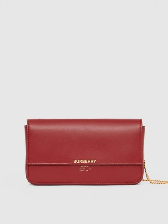 Кожаный бумажник со съемным ремешком-цепочкой (Темно-малиновый)