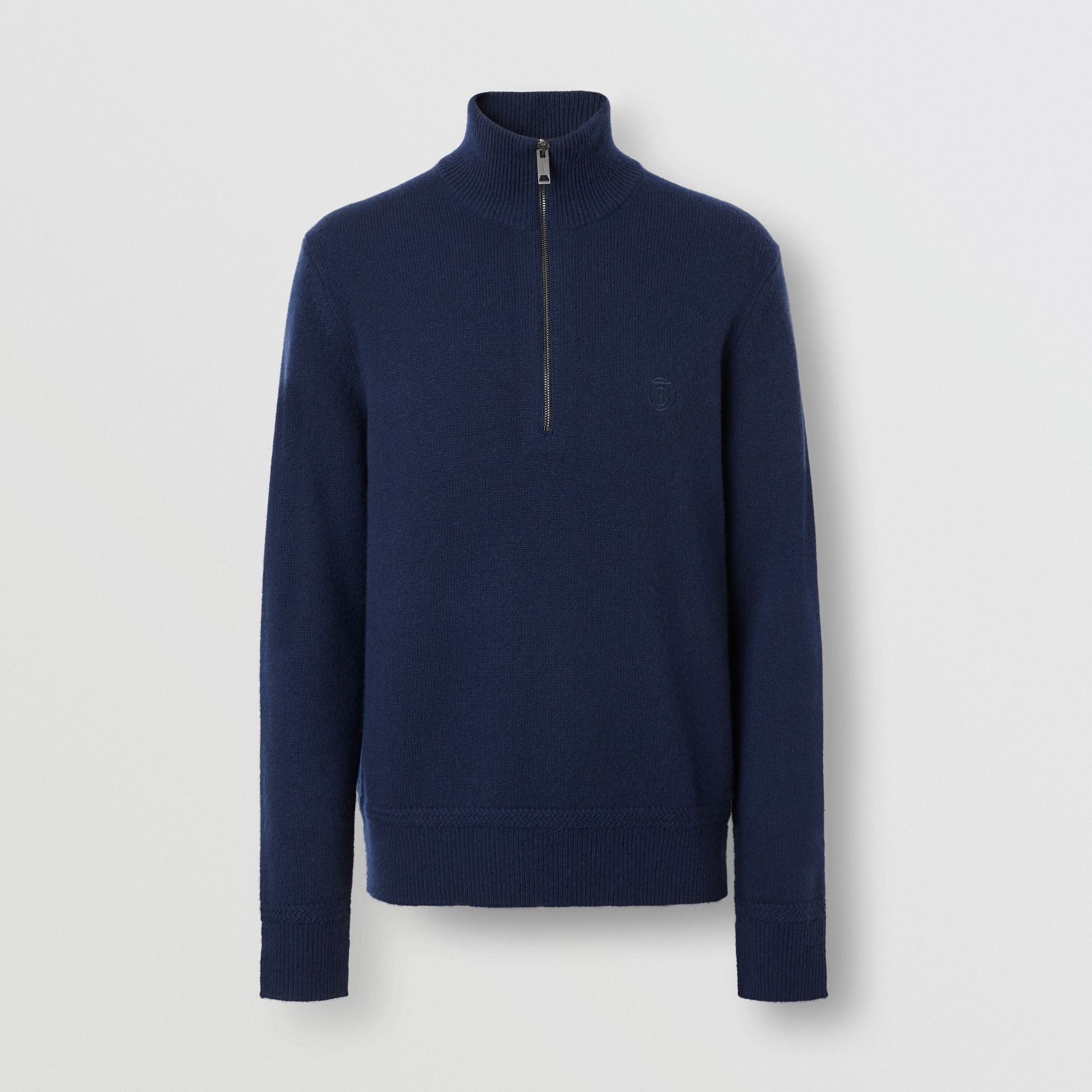 Monogram Motif Cashmere Funnel Neck Sweater in Navy - Men | Burberry - gallery image 3