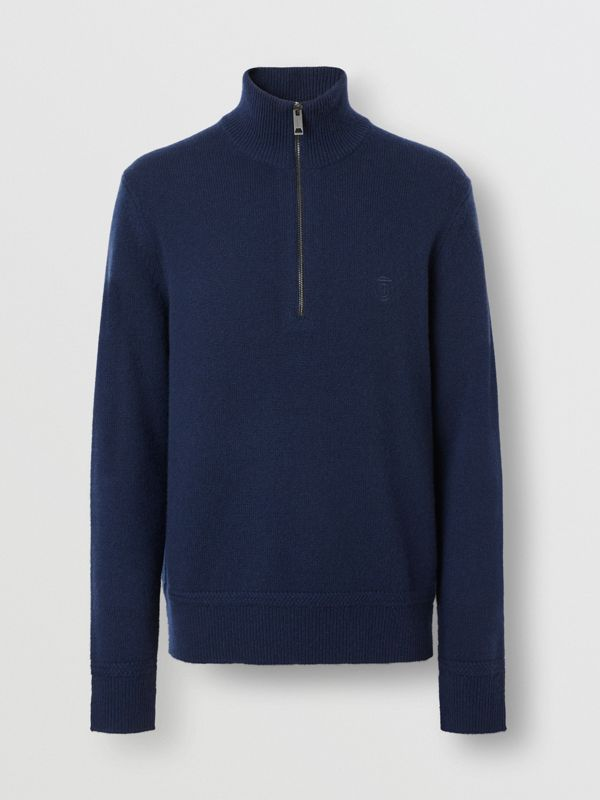 Monogram Motif Cashmere Funnel Neck Sweater in Navy - Men | Burberry - cell image 3