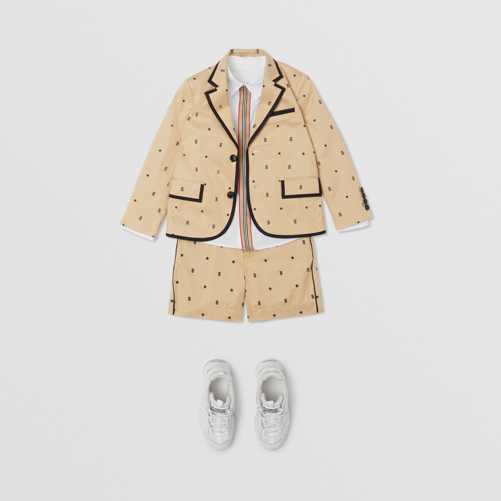 Star and Monogram Motif Stretch Cotton Blazer in Sand | Burberry - gallery image 2