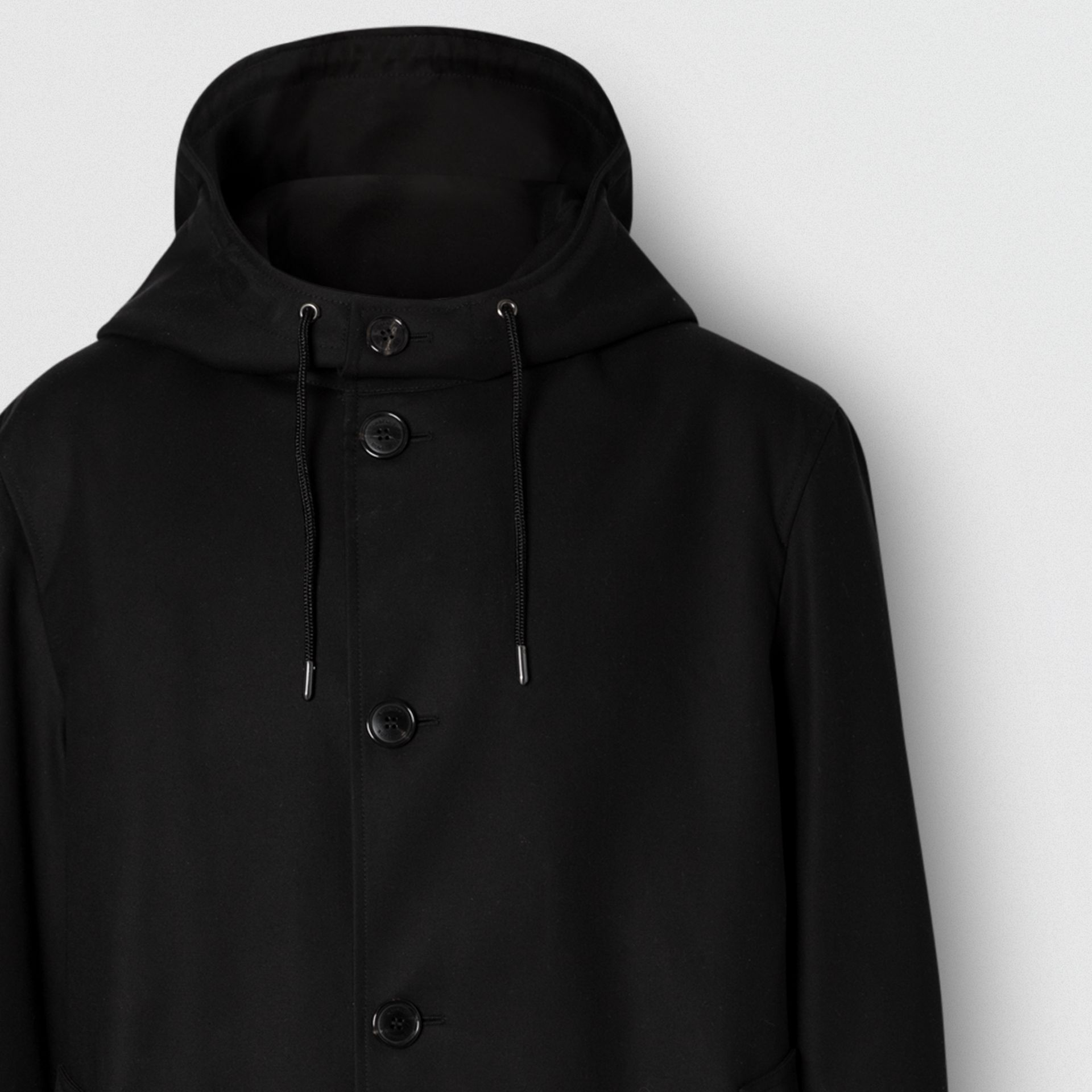 Cotton Gabardine Hooded Coat in Black - Men | Burberry United Kingdom - gallery image 1