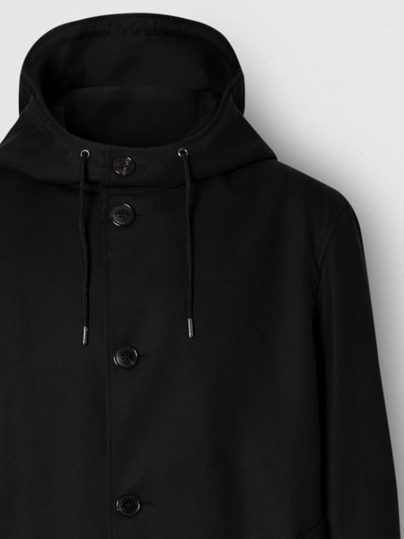 Cotton Gabardine Hooded Coat in Black - Men | Burberry United Kingdom - cell image 1