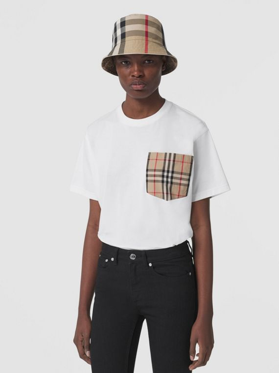 Vintage Check Pocket Cotton Oversized T-shirt in White