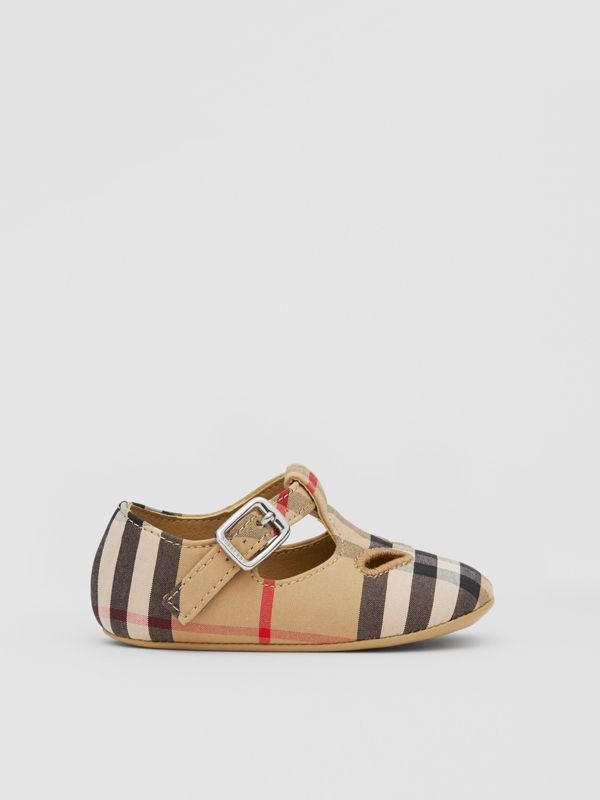 Vintage Check Cotton T-bar Shoes in Archive Beige - Children | Burberry United Kingdom - cell image 3