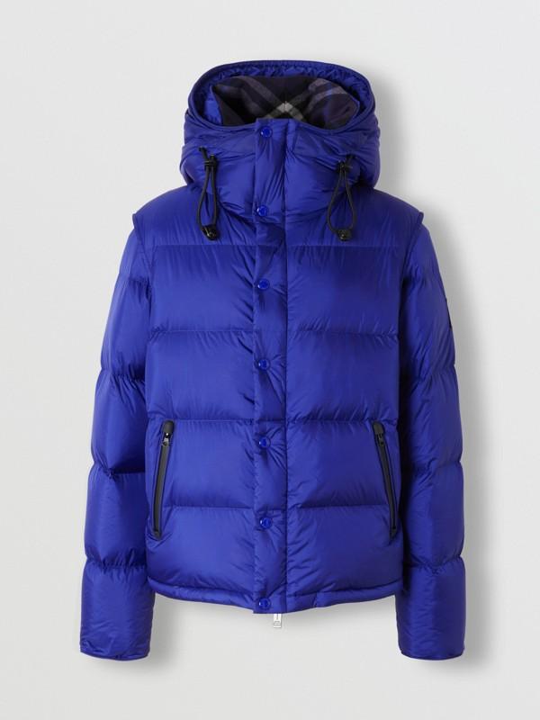 Detachable Sleeve Hooded Puffer Jacket in Dark Cobalt Blue - Men | Burberry - cell image 3