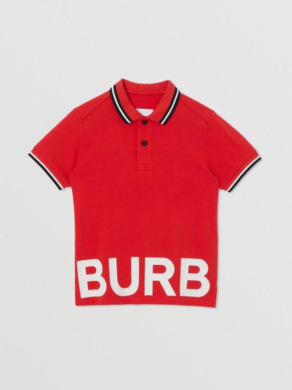 Logo Print Cotton Piqué Polo Shirt in Bright Red