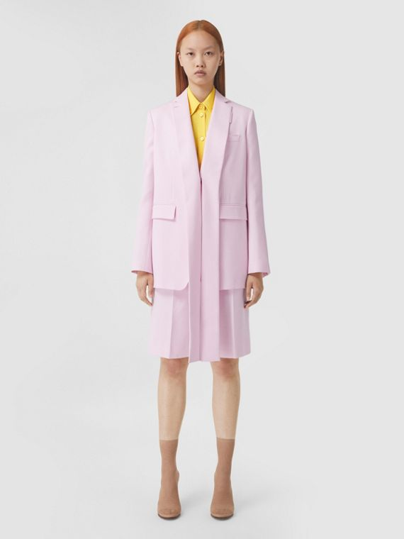 Exaggerated Lapel Wool Twill Tailored Jacket in Pale Candy Pink