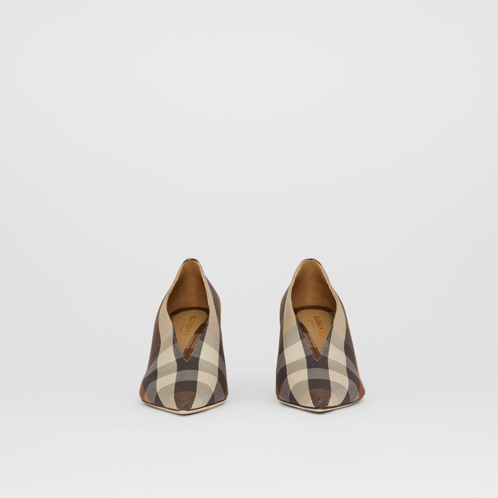 Check Technical Cotton Pumps in Birch Brown - Women | Burberry - gallery image 3