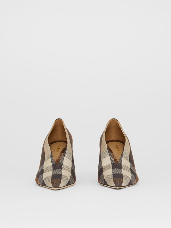 Check Technical Cotton Pumps in Birch Brown - Women | Burberry - cell image 3